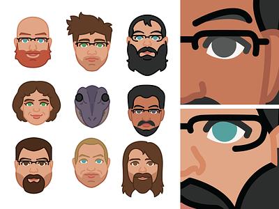 Movie Group Faces 2019 face faces portraits icon vector design fun illustration