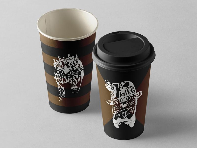 Habsburger Paper Hot Cup cafe branding restaurant branding coffee cup design coffee cup packagingdesign packaging layout design vector typography illustration branding design branding and identity branding graphic  design