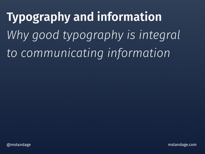Typography and information talk presentation information architecture typography