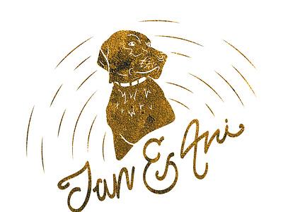 Wedding Napkin Design gold foil dog illustration dog napkin design napkin wedding illustration