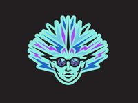 Psychedelic face woman sticker design sticker logo branding illustration