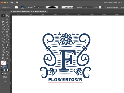 Flowertown In-Progress logo design bed and breakfast branding logo design illustration