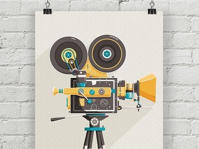 CINE Poster movie vector texture giclee print illustration vintage film camera poster
