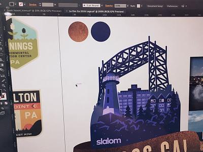 Event Logo: In Progress illustration branding duluth landmarks city logo mark retreat corporate event logo