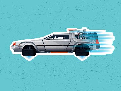 Back to the Future 2: Sticker vector design back to the future delorean car pop culture movie illustration sticker