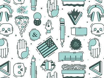 New brand pattern art vector design skull hands illustration pattern