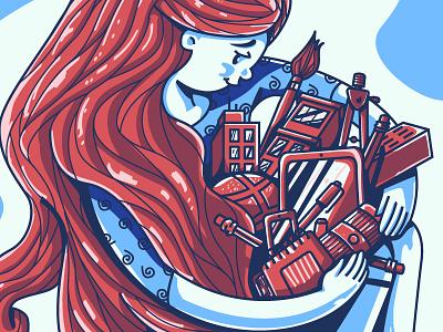 One Big Hug: detail creativity vector woman hug sticker game sticker design illustration