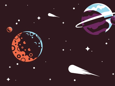 Space Shot vector illustration design asteroid comet planet space