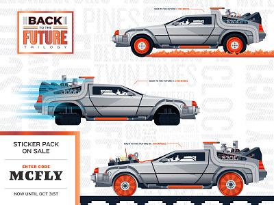 Back to the Future: Delorean Sticker Pack on sale! stickermule sticker design sticker pack sticker delorean back to the future vector illustration