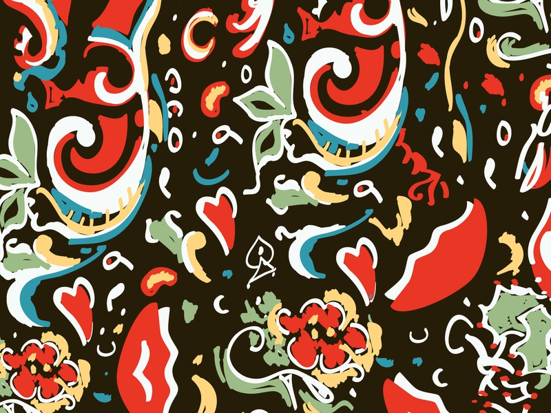Hendrix Inspired Background pattern a day guitar rock n roll hendrix psychadelic floral illustration pattern