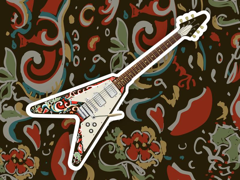 Lords of Sound: Psychedelic Sound illustration agency adobe illustrator vector pattern guitarist psychedelic jimi hendrix sticker mule sticker design sticker rock n roll guitar illustration