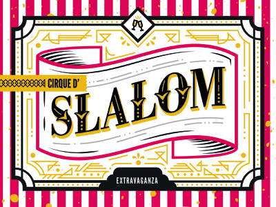 Slalom Christmas Invite clean lettering design burlesque cirque circus event branding event print christmas card xmas card invitation xmas christmas