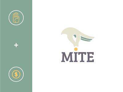 Mite Logo: Concept 1 deisng bird hand logo design brand and identity brand agency startup mobile app financial brand design finance logo