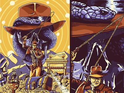 Indiana Jones Trilogy snakes skull art movie poster poster art poster design harrison ford indiana jones snake skull poster design illustration