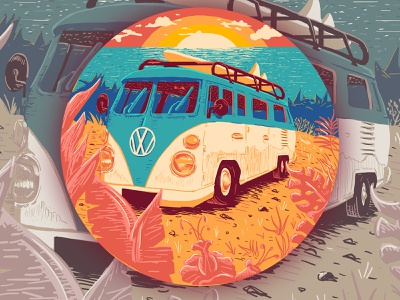 Coastin! photoshop ocean floral sun sunset surf art surf bus volkswagen west coast design playoff stickermule illustration