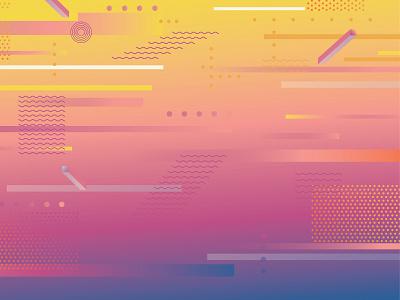 Summer Background vector illustrator design elements sunset shapes 80s summer gradient design pattern illustration