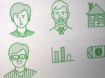 Halftone icons presentations people iconography financial finance line art line illustration icons