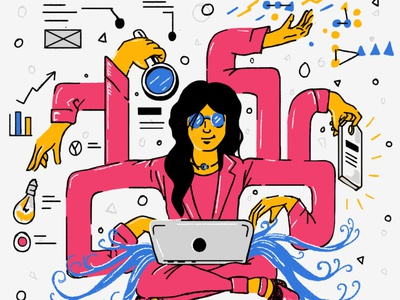 Aurelius: Zen State technology tech woman illustration startup zen woman character design illustration