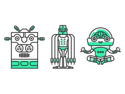 The Team technology illustration character android cloud computing robot computer tech