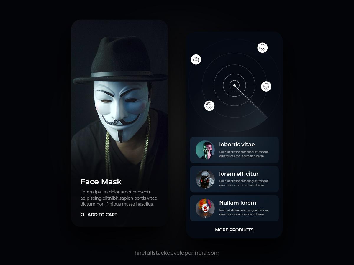 Face Mask UI by HireFullStackDeveloperIndia on Dribbble