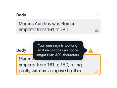 Character Counters characters character count large long textarea input ada