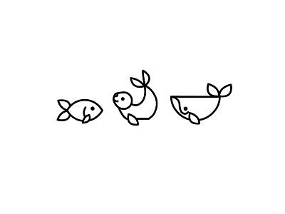 Wet Animals whale seal fish illustration icon