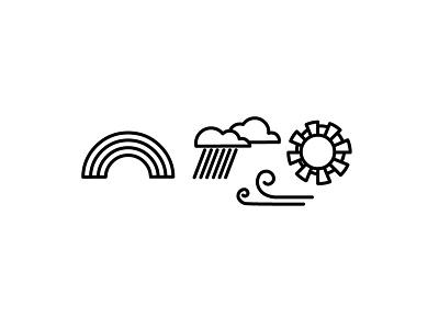 April rain wind sun rainbow weather illustration icon