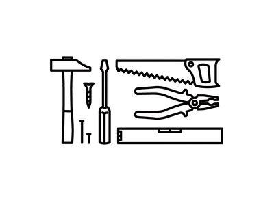 Tools of Trade pliers screwdriver hammer saw tools illustration icon