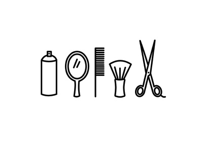 Tools of Trade comb can haispray mirror scissors illustration icon