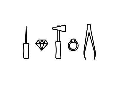 Tools of Trade tweezers hammer awl diamond ring illustration icon