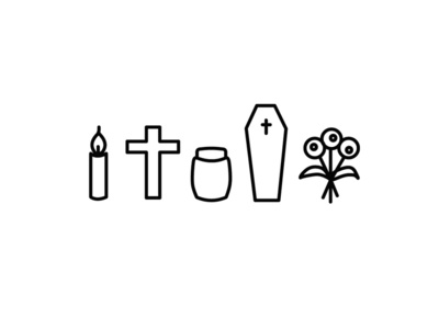 Tools of Trade cross urn casket funeral illustration icon
