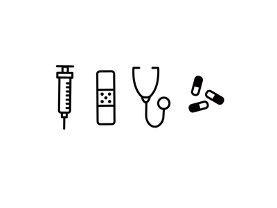 Tools of Trade syringe stethoscope medicine pill doctor illustration icon
