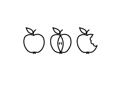 An apple a day bite apple illustration icon