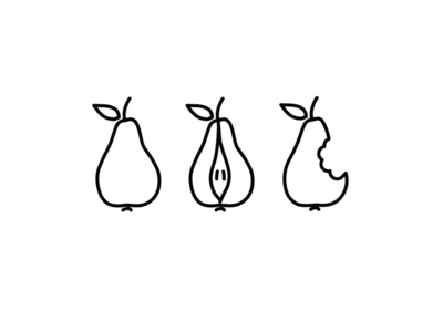 Pears bite pear illustration icon