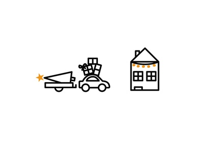 Driving Home presents driving christmas car house illustration icon
