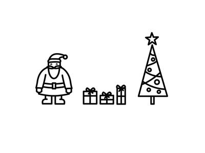 Merry Christmas tree presents santa christmas illustration icon