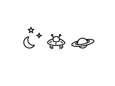 Nightsky moon planet ufo night illustration icon