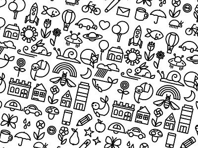 Pattern stuff city weather animals pattern illustration icon