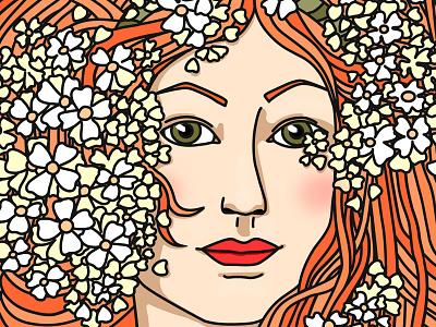 Spring hair flowers vector spring illustration lady