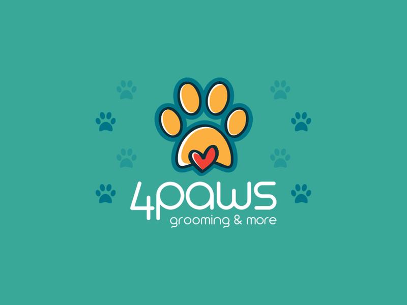 4PAWS LOGO ilustracion red orange vector creative friend best veterinary cats animal grooming heart dog paws minimal logo mexican design flat branding