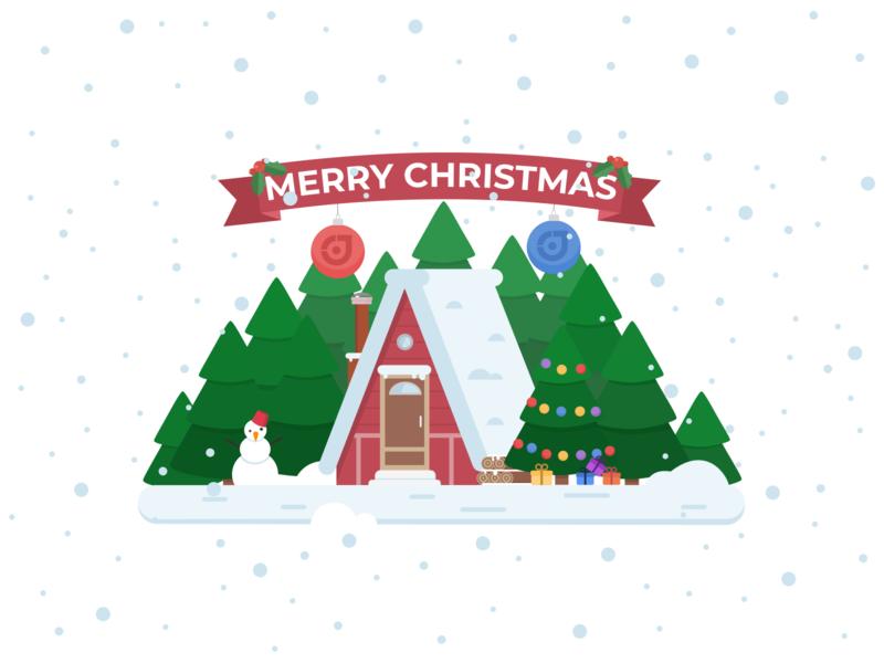 Christmas Winter Wonderland sketch minimal green graphic house flatdesign flat designer snow colorful color artwork art christmas tree christmas web ux ui design illustration