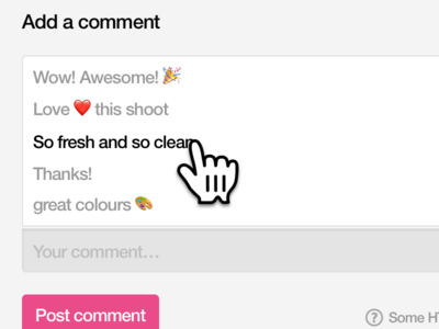 Dribbble Suggested Comments