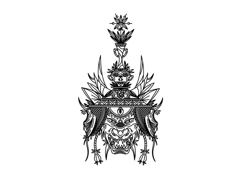 Samurai Mask japanese art samurai vector cat illustrator plant ipad flower procreate ipad pro sax illustration