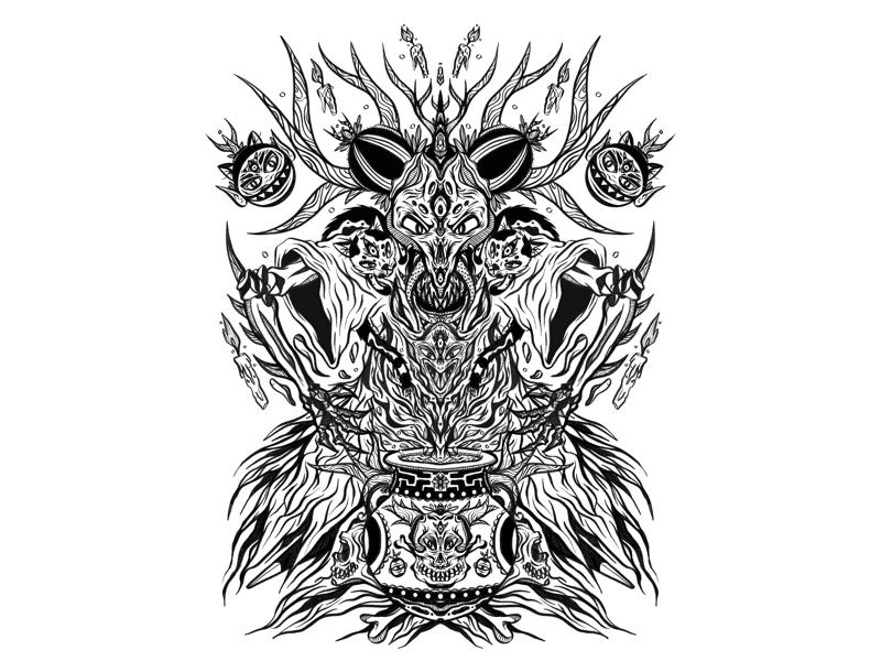 Summoning Ritual evil magic witchcraft wizard demon design ipad pro sax illustration
