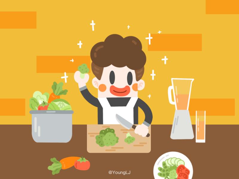 Healthy Diet design cook man color ui illustration