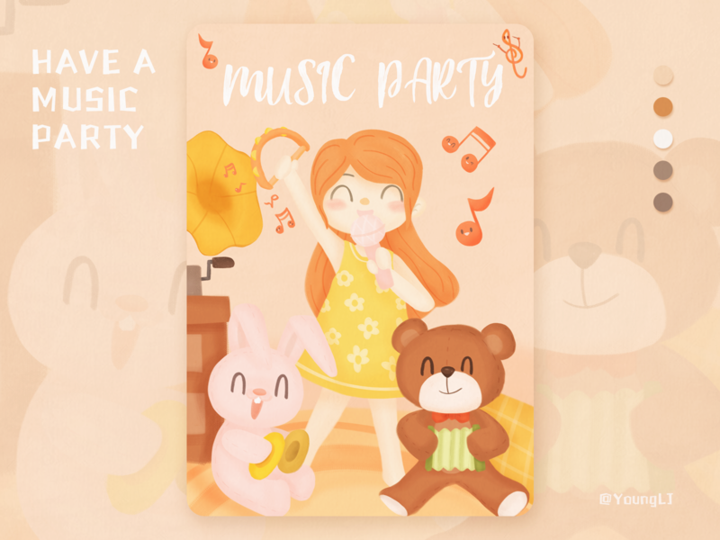 HAVE A MUSIC PARTY music girl procreate illustration design