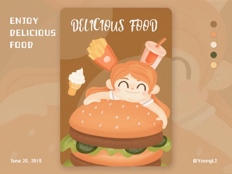 DELICIOUS FOOD hamburger food girl procreate illustration design