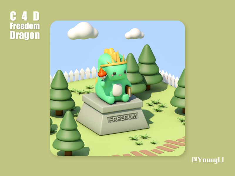 C4D practice - Freedom Dragon c4d design