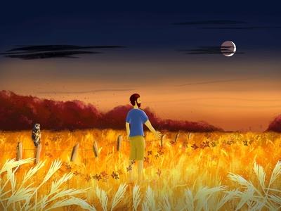 Dreamy man in fields