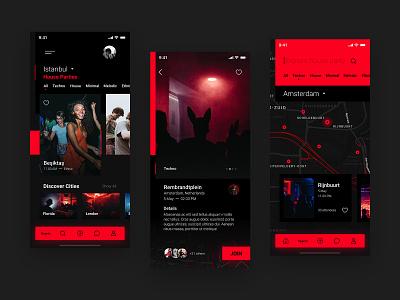 House Party App Concept event party music dance concept design app ux ui